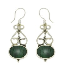 New Malachite Gemstone 925 Sterling Silver Earring For St. Patrick Day S... - $43.91
