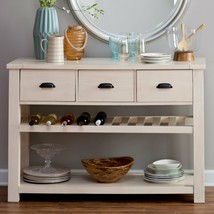 Antique White Coastal Cottage Country Farmhouse Wood Sideboard Buffet Ca... - $295.51