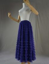 Women High Waist Tiered Tulle Skirt Polka Dot Champagne Maxi Tutu Skirt US0-US24 image 14