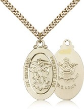 ARMY MEDAL - Gold Filled St. Michael the Archangel Medal Pendant - 4145R