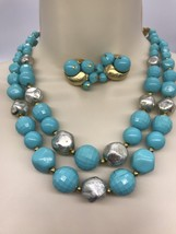 VTG Double Strand Turquoise & Silvertone Goldtone Beaded Necklace & Earr... - €20,11 EUR