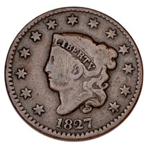 1827 Liberty Head Large Cent 1C (Good, G Condition) - $58.41