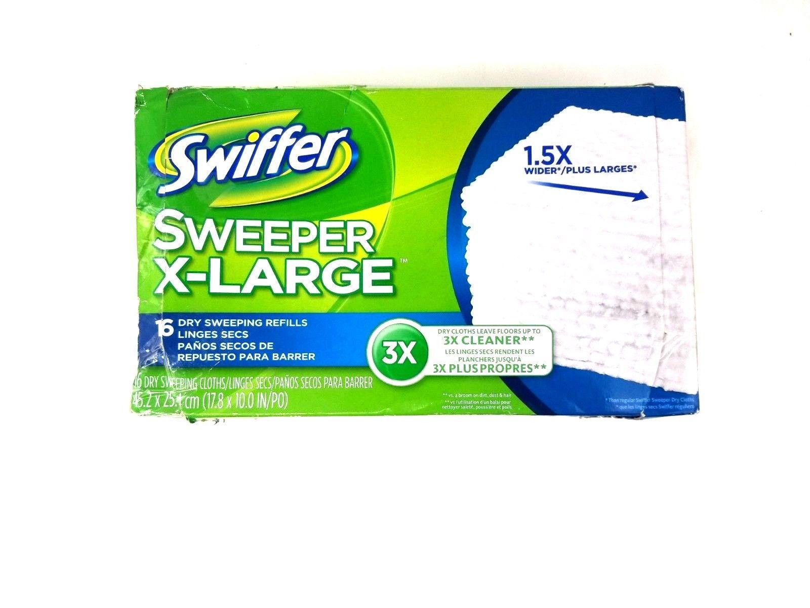 """Swiffer Sweeper X-Large 16 Dry Sweeping Refills Dry Cloths 17.8 x 10"""" 1.5x Wider"""