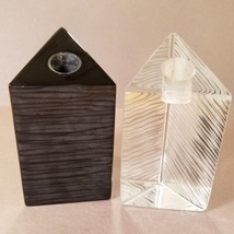 Block Candle Sticks Etched Triangle  Black & Clear Crystal Modern Riedel Crystal - $54.85