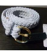 $38.00 Lauren Ralph Lauren Woven Stretch Belt, White, XL - $19.45