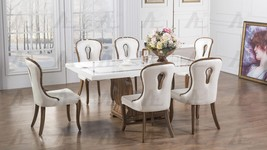 American Eagle Furniture  DT-H102 White Marble Top Dining Table White Chairs 5Pc