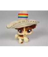 Littlest Pet Shop toy 438 LPS dog chihuahua cream tan long hair purple eyes - $11.19