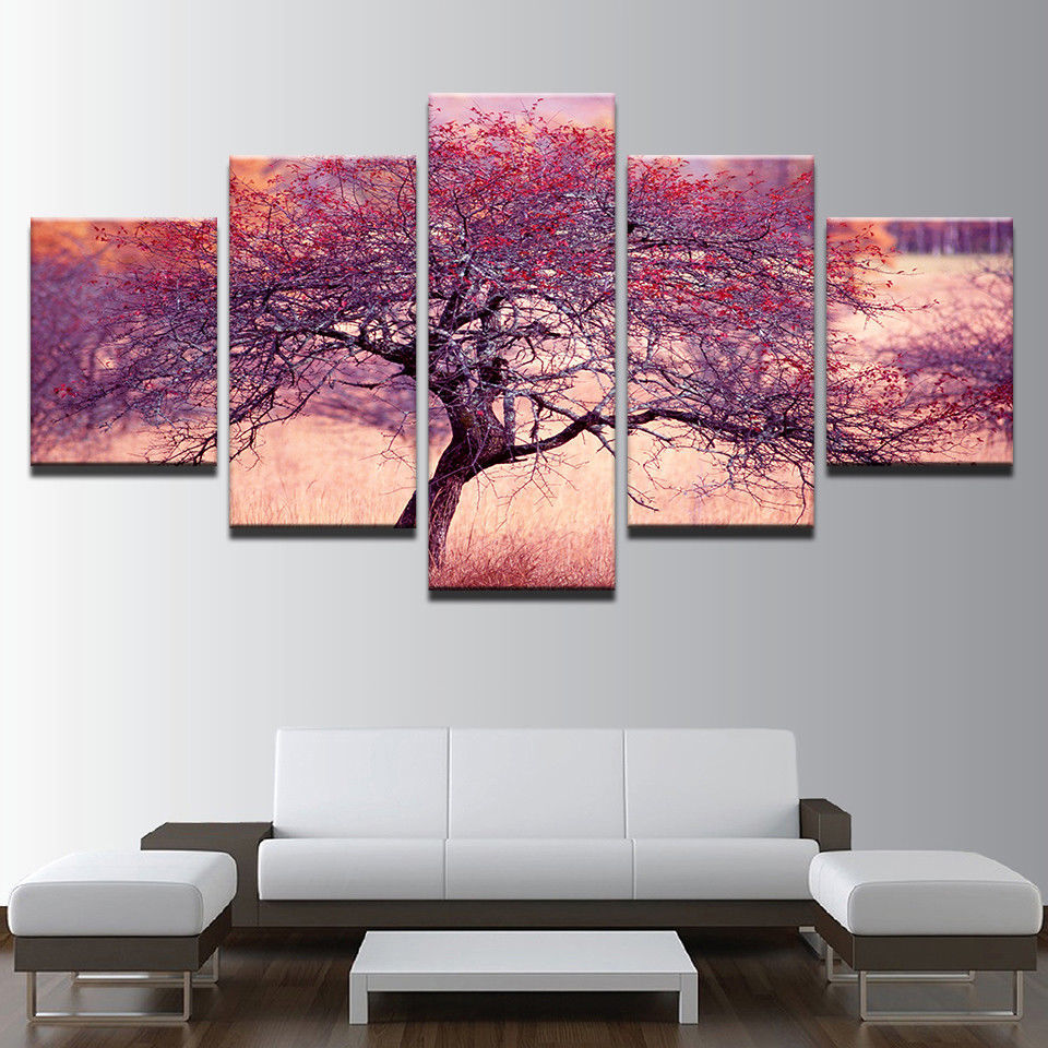 framed 5 pcs purple red tree canvas print painting wall art picture home decor posters prints. Black Bedroom Furniture Sets. Home Design Ideas