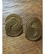 Vintage Napier Signed Goldtone Twist Interlocking Circle Clip Earrings –... - $12.19