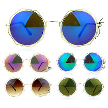 SA106 Octagonal Double Rim Circle Lens Womens Sunglasses Silver Blue - $12.95