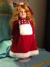 "Porcelain Doll Claire Renae w/Stand - Red Velvet 16"" Vintage Collectible... - $14.85"