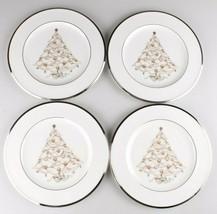 SET of 4 Noritake Bone China PALACE CHRISTMAS PLATINUM Holiday Salad Plates NEW