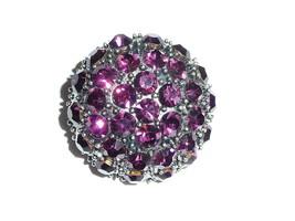 "Beautiful Large Rhinestone Shank Button Ant.Silver Base/ Amethyst 1-1/2""... - $16.62"