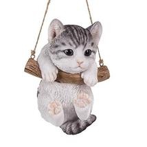 Pacific Giftware Realistic Kitten Hanging from Branch Rope Hanger Statue - $24.74