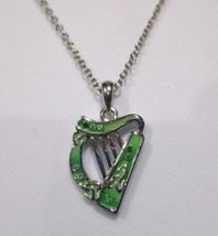 Irish Harp Necklace from Ireland Silver Tone Green Rhodium Plated - $29.65