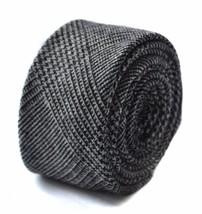 Frederick Thomas mens wool tweed tie in black check FT1636