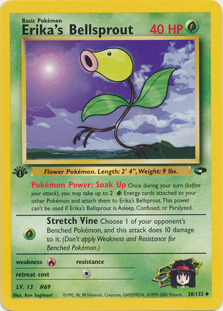 Erika's Bellsprout 38/132 Uncommon 1st Edition Gym Challenge Pokemon Card