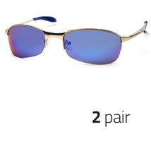 2 Pair Xloop Sunglasses Metal Frame Mirrored Revo Lens Sports Shade Sunnies Blue - $13.99
