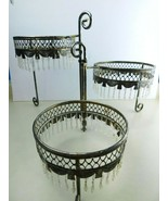 Vtg Decorative Silver Plated 3 Tier Cake,Plate,Flower,Bowl with Dangles ... - $69.19