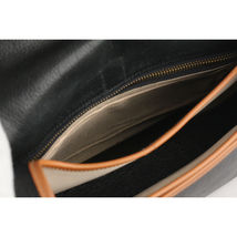 Authentic Hermes Vintage Black and Tan Leather Noumea Shoulder Bag image 11