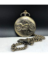 VINTAGE MOTORCYCLE POCKETWATCH solid brass Japan with chain pocket watch... - $27.72