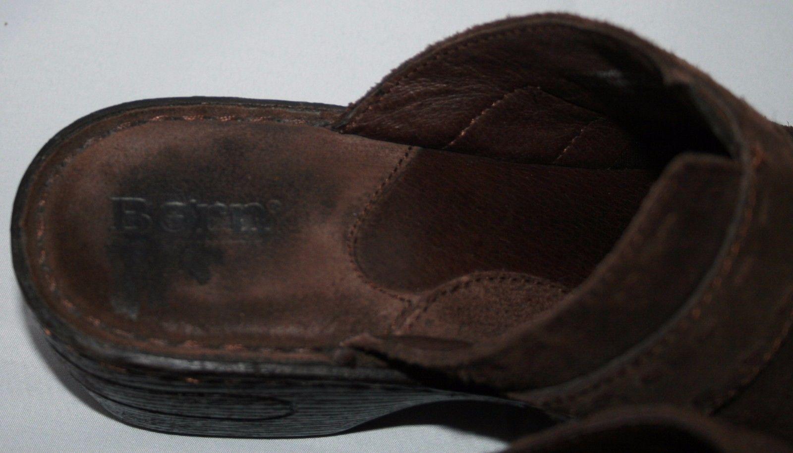 Born Zuecos Pantuflas Talla 9 40.5 Mujer Cuero Marrón Hebilla Zapatos Desliza