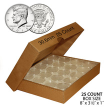 25 Direct Fit Airtight 30.6mm Coin Holders Capsules For JFK HALF DOLLAR ... - $10.36