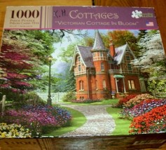 Jigsaw Puzzle 1000 Pieces Victorian Tudor Cottage Flower Gardens Trees C... - $14.84