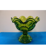 L.E. Smith green glass four mold compote moon & stars pattern. - $15.00
