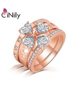 3 in 1 Rose Gold Color LOVE Large Rings Clear Zirconia CZ Crystal Heart ... - $16.83
