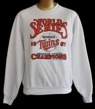 Vintage 80s Minnesota Twins Raglan Sweatshirt 1987 Word Series Medium to... - $44.54