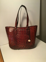 Authentic Brahmin Medium Lena Pecan Melbourne Embossed Shoulder Bag Leat... - $237.59