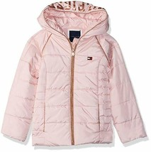 EUC Tommy Hilfiger Little Girls Hooded Puffer Jacket Size 5 Pink - $31.78