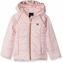 EUC Tommy Hilfiger Little Girls Hooded Puffer Jacket Size 5 Pink image 1