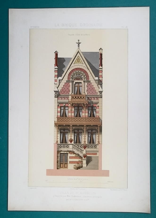 Primary image for ARCHITECTURE Color (2) Prints - VICTORIAN Villa Masselin at Trouville-sur-Mer