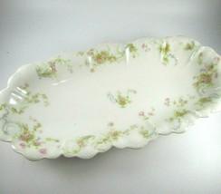 """Vintage Haviland Limoges France Schleiger Celery Dish Pink Flowers 12""""x6"""" - $34.65"""