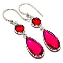 "Rubellite Tourmaline, Garnet Jewelry Earring 2.0"" RE1607 - $4.99"