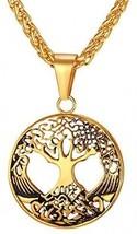 U7 Women Men Filigree Style Pendant 18K Gold Plated Tree Of Life Necklace - $37.14