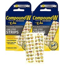 Compound W One Step Medicated Strips For Kids   Wart Removal   10 Strips   2 Pac