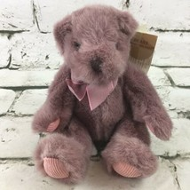 Vintage Russ Berrie Teddy Bear Plush Purple Corduroy Paws Collectible To... - $16.82