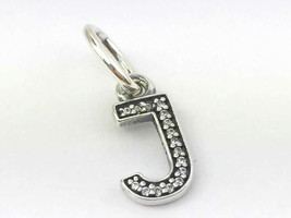 Authentic Pandora Sterling Silver Initial Letter J with CZ Charm 791322C... - $35.90