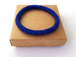 Rolling beaded bracelet, bangle royal blue bead crochet wristband gift f... - $8.00+