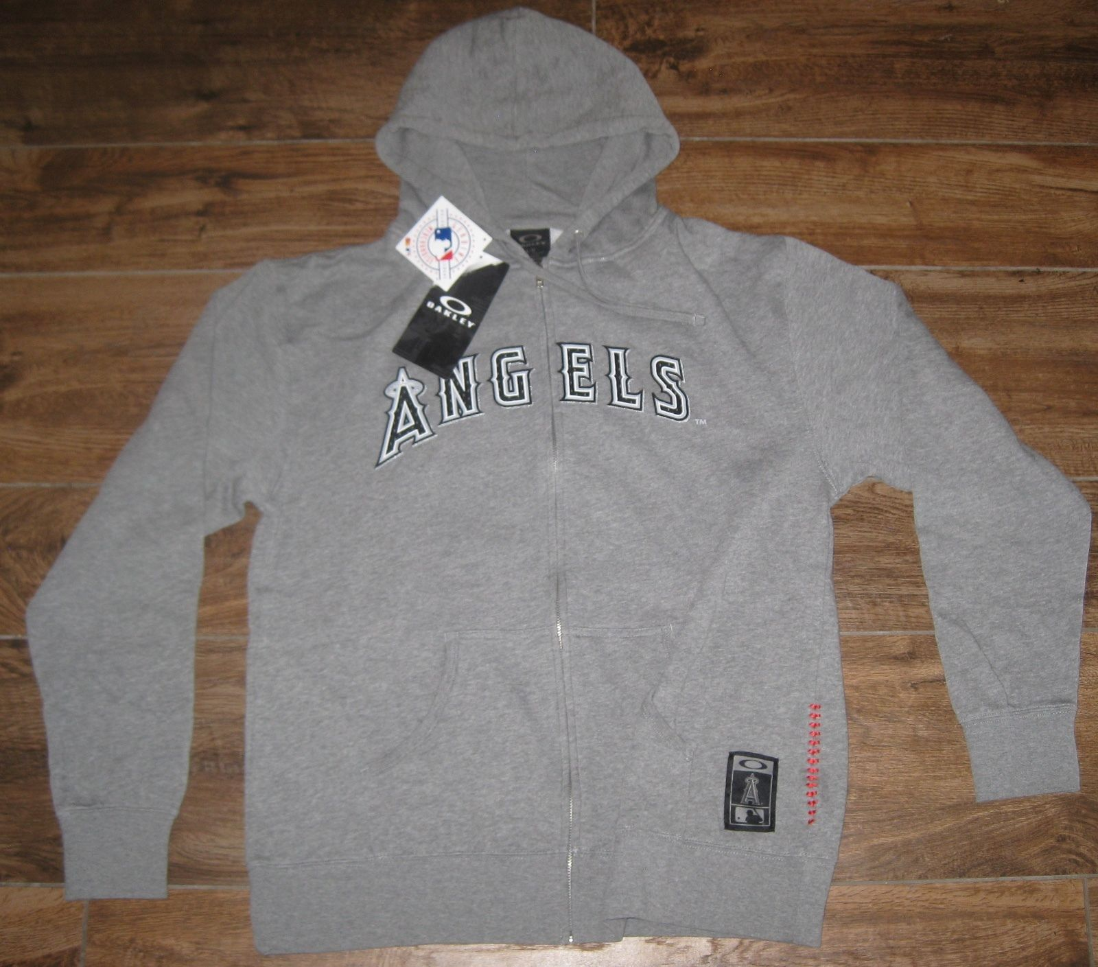 Primary image for OAKLEY LA ANGELS HOLLER BACK FULL ZIP HOODED SWEATSHIRT MENS L MLB HOODIE GREY