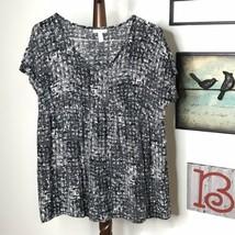 Liz Lange Maternity Women's S Scoop V Neck Short Sleeve Gray White Tunic... - $7.69
