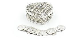 Silver Elegant Rhinestone Heart Wedding Arras Box Set with Unity Coins SH07 - $29.21