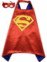 Superhero Child Cape and Mask Satin Lined Cape Blue with Red and Yellow ... - $2.96