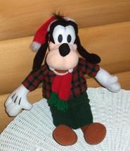 "Disney Mickey's GOOFY Plush 13"" in Plaid Shirt & Cords Wears Santa Cap &... - $10.89"