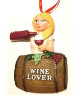 Female Wine Lover Ornament Blonde Girl Gift Cute Fun Christmas Napa Valley - $14.82