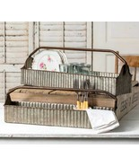 2 new Country distressed corrugated tin Tool carriers/ nice storage tin - $53.88