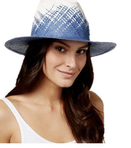 Calvin Klein Weave Panama Hat (Blue/Beige)